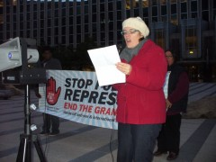 Meredith Aby, of the Minnesota Committee to Stop FBI Repression, speaking at Nov