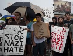 Anti-Nazi protest in West Allis, September 3, 2011.