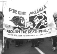 Banner demanding freedom for Mumia