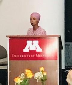 Representative Omar speaking at the University of Minnesota.