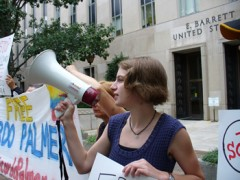 Woman talking on bullhorn