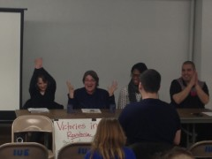 "Speakers at the ""Victories in Resistance, Solidarity Against Injustice"" panel."