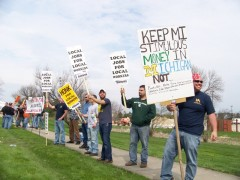 Members of United Association 174 protest Michigan tax dollars going to Dahlgren