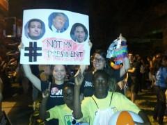 Protesters outside of the Republican debate In Miami.