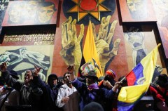 Indigenous protesters occupy the parliamentary building in Quito, Ecuador.