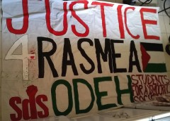 Houston Students for a Democratic Society (SDS) banner in solidarity with Rasmea
