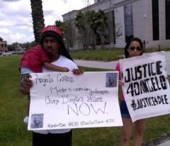 D'Angelo supporters rally in front of the courthouse demanding answers