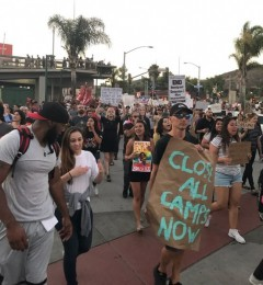 San Diego protest demands end to Trump's concentration camps.