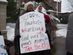 "Protest against ""Scrooge Pawlenty"" at governor's mansion Dec. 22"