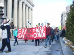 SDS leads protest against war criminal Condoleezza Rice