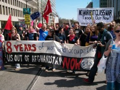 SDS Members protest the war in Afghanistan.