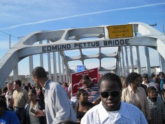 Protestors on Edmund Pettus bridge