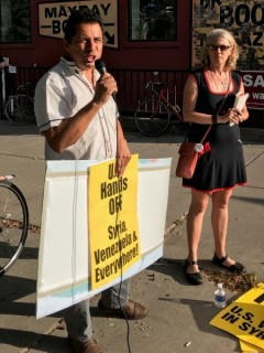 Gerardo Cajamarca, a Colombian trade unionis, speaking at Sept. 13 rally.