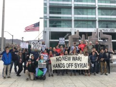 Participants in Salt Lake City protest against attack on Syria.