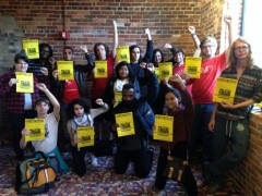SDS and Colombia solidarity activists at School of the Americas protest
