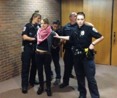 University of MN police handcuffing pro-Palestine protester.
