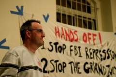 Tom Burke speaking at Committee to Stop FBI Repression New York City meeting