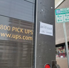 #Frank posted on the back of a UPS package car in Los Angeles.