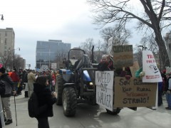 Photo of tractors at Wisconsin labor march.