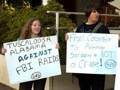 Tuscaloosa SDS leads a protest against FBI repression of anti-war activists.