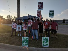 UAW members on the picket line at GM.