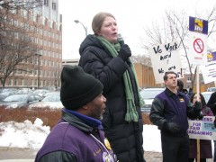 Jes Cook speaks at rally outside Board of Trustees meeting in January