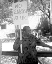 """Sign says """"No Enron at UIC"""""""