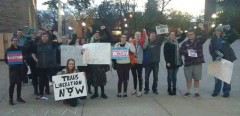 Oshkosh, WI protest opposes Trump's attacks on transgender rights.