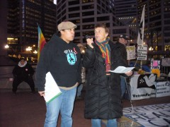 Jennie Eisert of the Anti War Committee and Sarah Martin of Women Against Milita