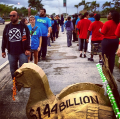 Walmart workers walk out in Hialeah, Florida in protest.
