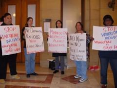 Women outside MN senate hearing room