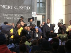 Protest in front of Byrd US courthouse