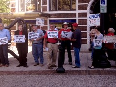 Picket outside Asheville newspaper, the Mountain Xpress.