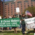 AFSCME banner in support of NWA stiking machinists