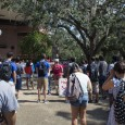 Crowds Gather in Turlington Plaza for speeches.