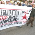 Banner of Freedom Road Socialist Organization at May 1 march in Minneapolis