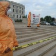 Quarantining the State Capitol in guerrilla theater at 7/29 protest vs SB1070