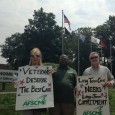 Trade unionists rally for veterans' health care.