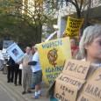 Protesters on the street against FBI raids