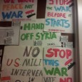 Anti war signs on door of Senator Nelson's office.