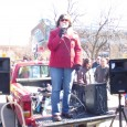 Meredith Aby of the the Anti War Committee speaking at March 20 protest