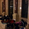 Protesters sleeping outside the State Assembly meeting area