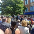 Fred Zuckerman speaking to a crowd of Boston Teamsters.