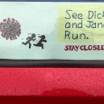 Sign on window at CTU car caravan.