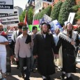 Orthodox Jews and Shia Muslims marching together to condemn Israeli crimes.