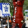 The Stop Police Crimes float in Bud Billiken Parade