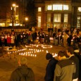Students at a candle light vigil