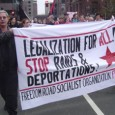 Banner: Legalizaiton for all. Stop raids and deportations.