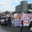 Unas pancartas en el frente de la marcha pro-inmigrante