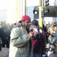 Mel Reeves, of Occupy the Hood speaking prior to MLK day march